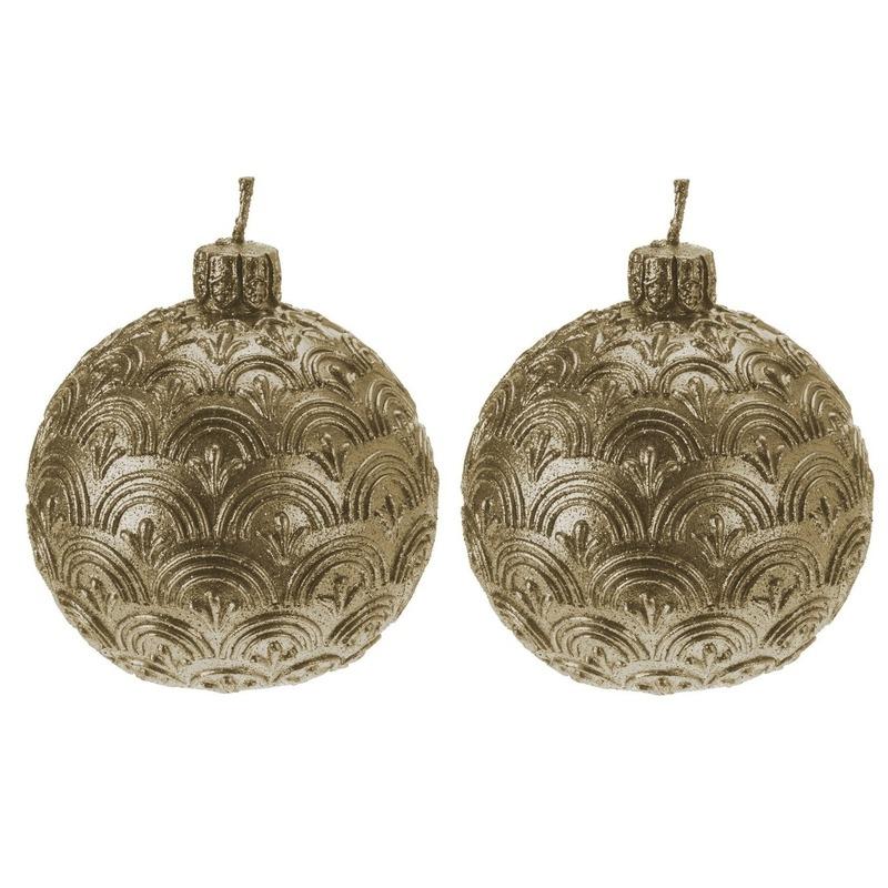 2x Gouden kerstbal kaars 9 cm