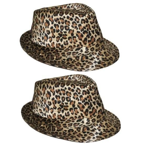 2x Hoed met luipaard print