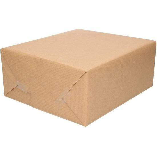 2x Inpakpapier-cadeaupapier kraft bruin rollen 500 x 70 cm