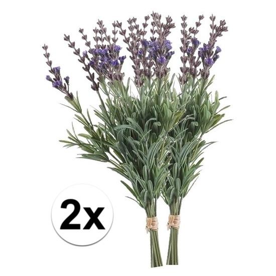 2x Lavendel kunstbloemen bundel 33 cm
