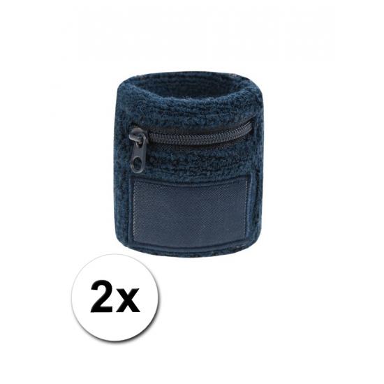 2x Navy blauwe zweetbandjes met zakje