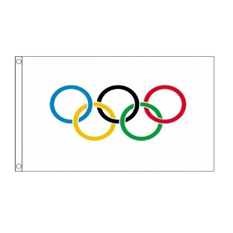 2x Olympische vlaggen