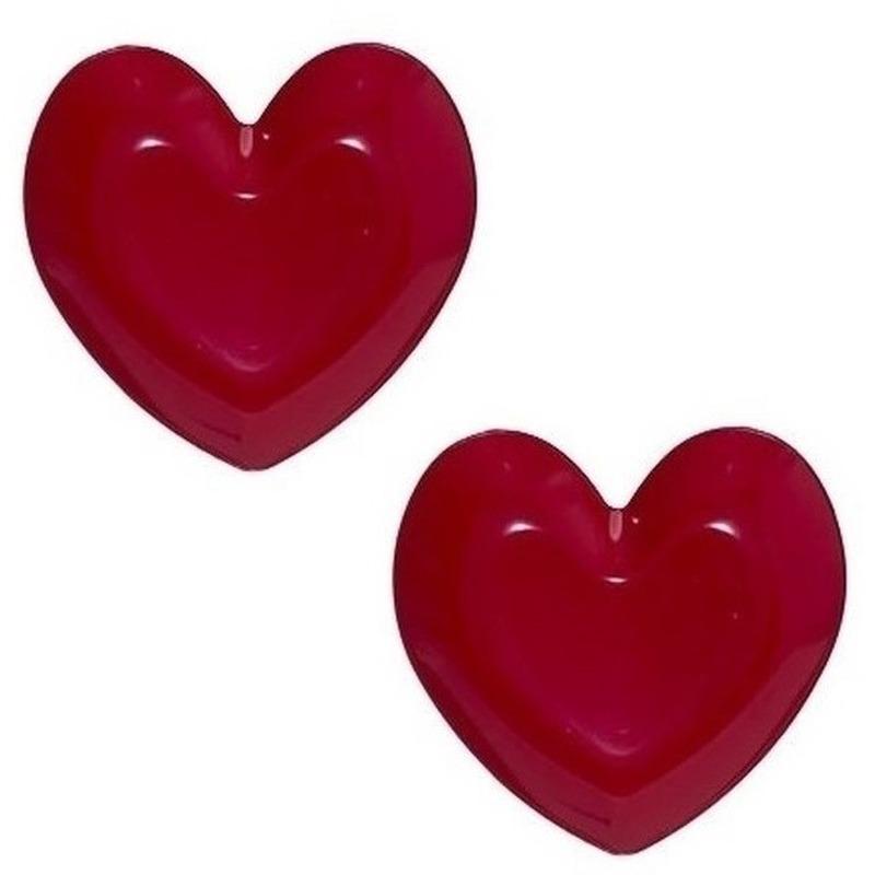 2x Ontbijtborden hart rood 36 cm plastic-kunststof