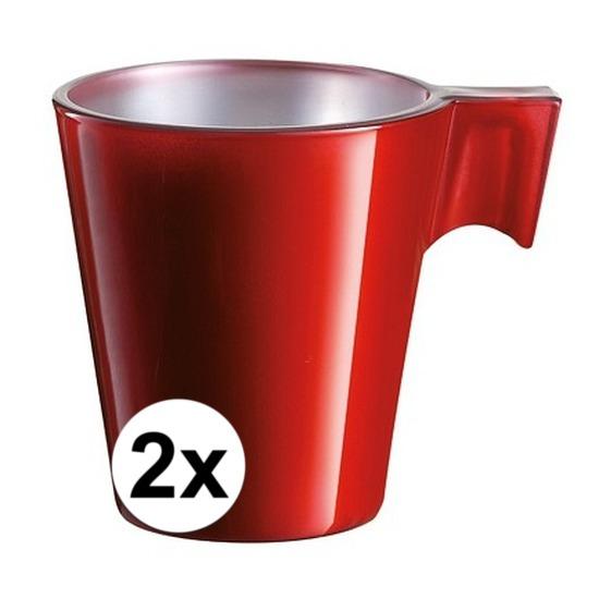 2x Rode espresso/koffie kop
