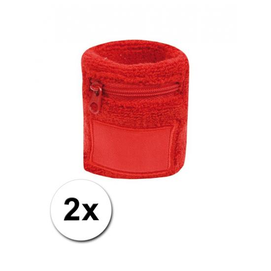 2x Rode zweetbandjes met zakje