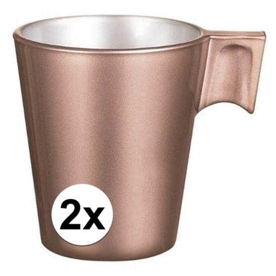 2x Rose goud espresso/koffie kop