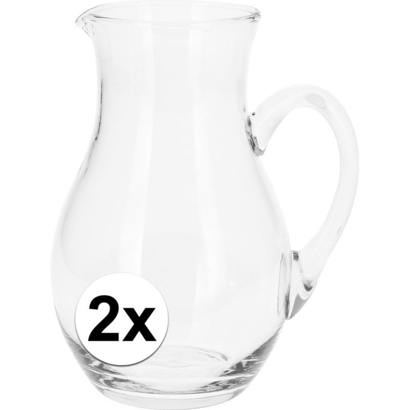2x Schenkkannen van glas 1 liter