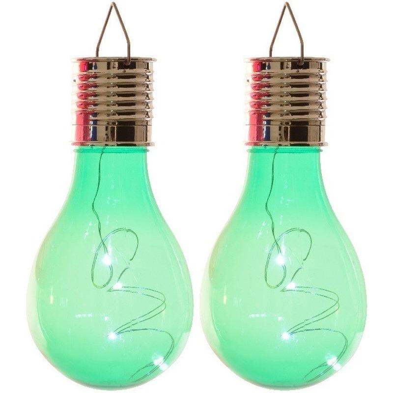 2x Solarlamp lampbolletjes-peertjes op zonne-energie 14 cm groen