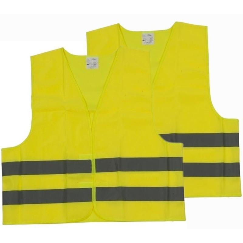 2x Veiligheidsvesten/hesjes geel voor volwassenen