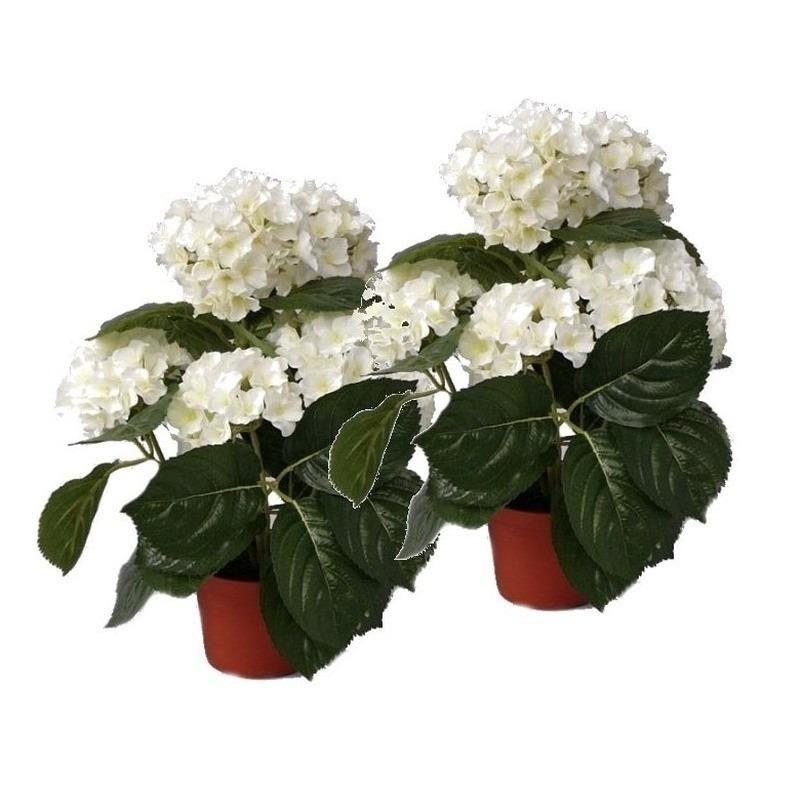 2x Witte kunst hortensia planten 36 cm