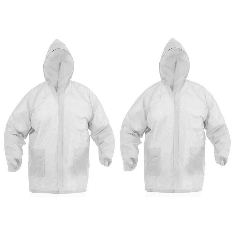 2x Witte regenjas voor volwassenen