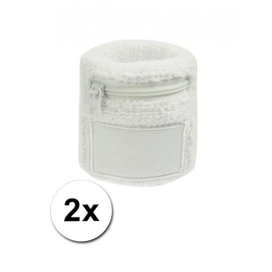 2x Witte zweetbandjes met zakje