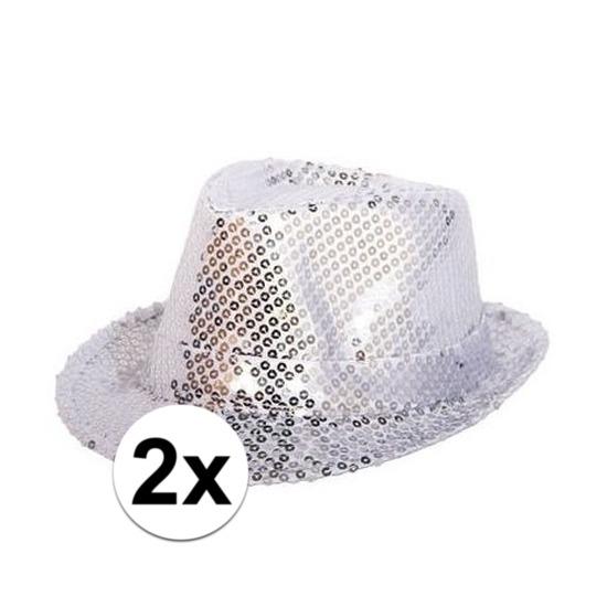 2x Zilveren hoedjes met zilveren pailletten