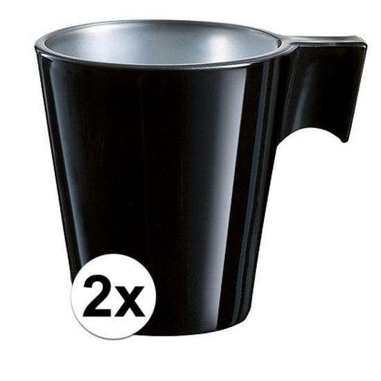2x Zwarte espresso kop