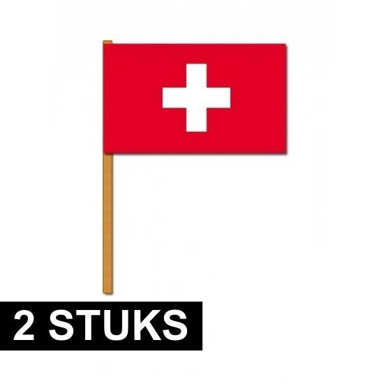 2x Zwitserse zwaaivlaggen