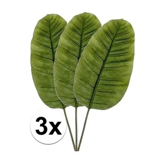 3 x Groene bananen blad 92 cm kunstplant takken