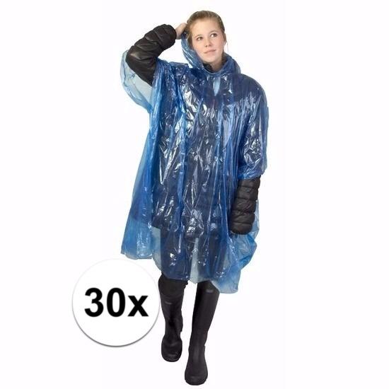 30x blauwe regen ponchos voor volwassenen