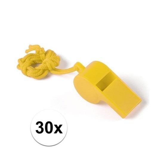 30x Feestartikelen plastic geel fluitje