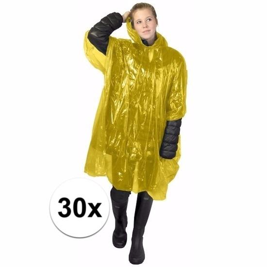 30x gele regen ponchos voor volwassenen