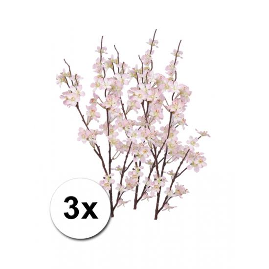 3x appelbloesem kunst takken roze 84 cm