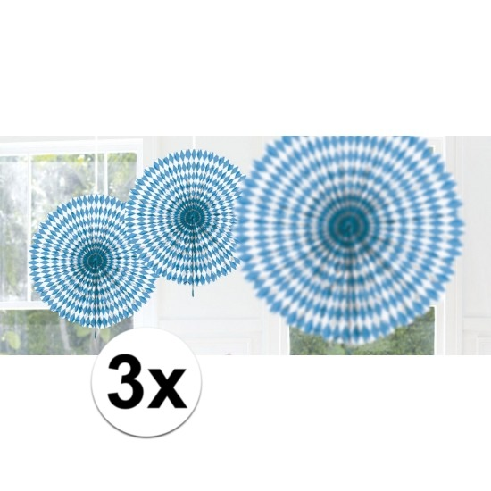 3x Bayern hangdecoratie waaier 45 cm