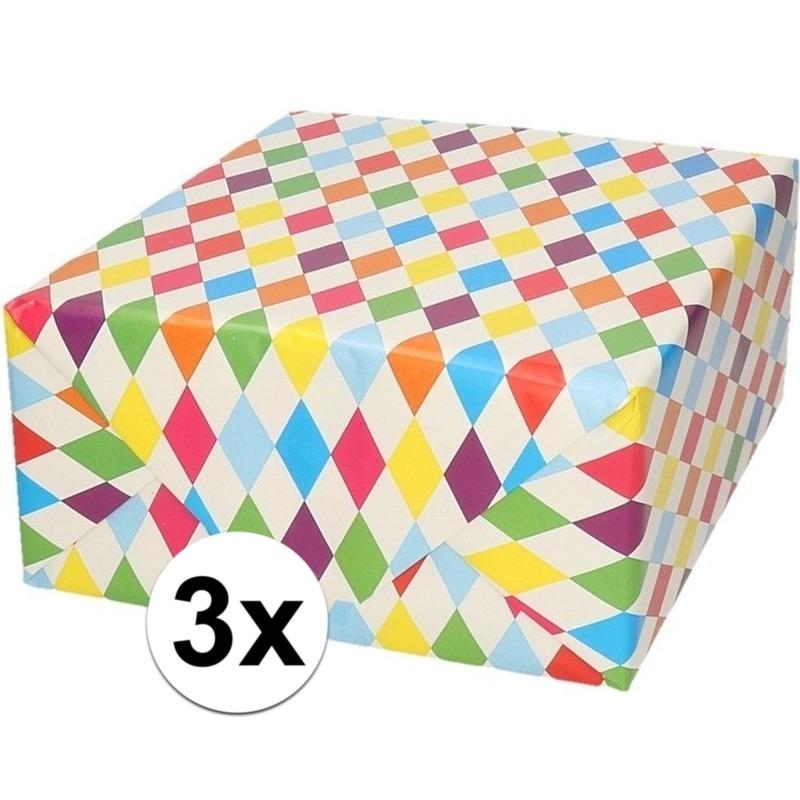 3x Cadeaupapier ruitjes wit 70 x 200 cm