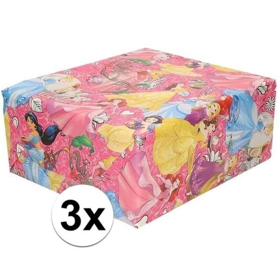 3x Disney inpakpapier-cadeaupapier Princess roze 200 x 70 cm rol