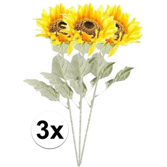 3x Gele zonnebloem 82 cm kunstplant steelbloem