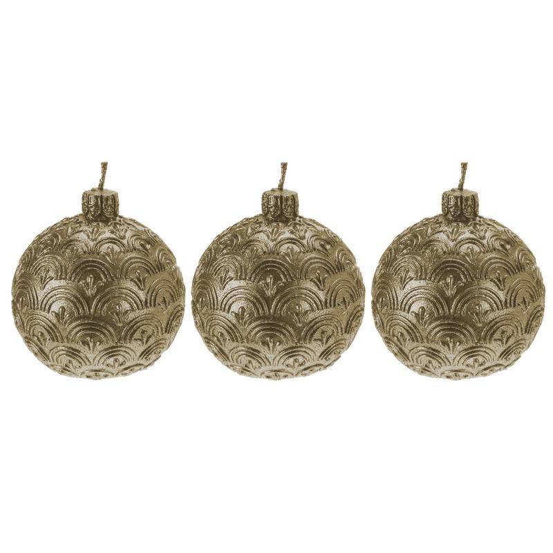 3x Gouden kerstbal kaars 9 cm
