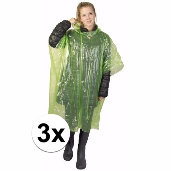 3x groene regen ponchos voor volwassenen