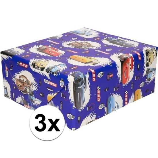 3x Inpakpapier-cadeaupapier Disney Cars 200 x 70 cm blauw