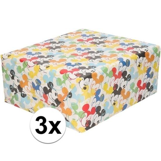 3x Inpakpapier-cadeaupapier Disney Mickey Mouse 200 x 70 cm