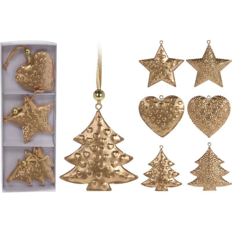 3x Kerstboom versiering gouden hangers metaal 6 cm