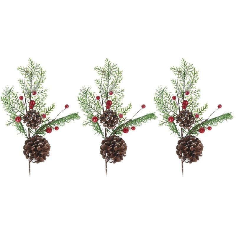 3x Kerststukje instekertjes 28 cm
