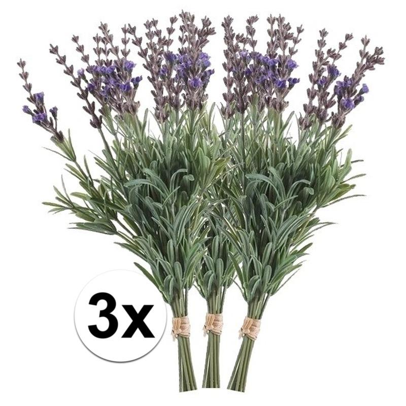 3x Lavendel kunstbloemen bundel 33 cm