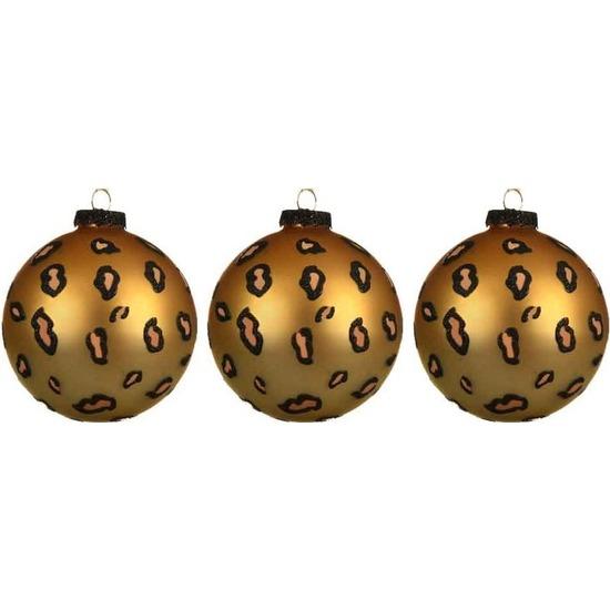 3x Luipaard print kerstballen 8 cm matte glas kerstversiering