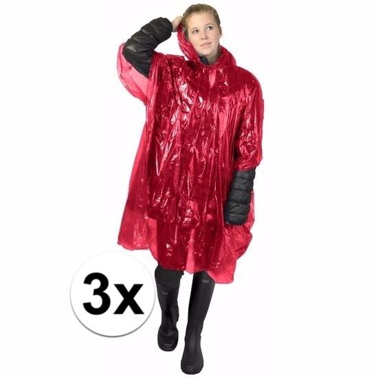 3x rode regen ponchos voor volwassenen