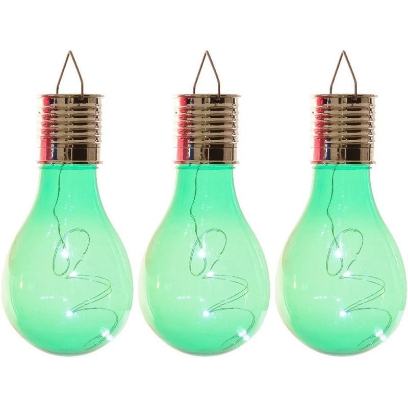 3x Solarlamp lampbolletjes-peertjes op zonne-energie 14 cm groen