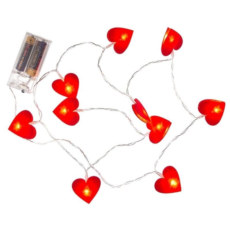 3x Valentijnversiering hartjes verlichting 120 cm