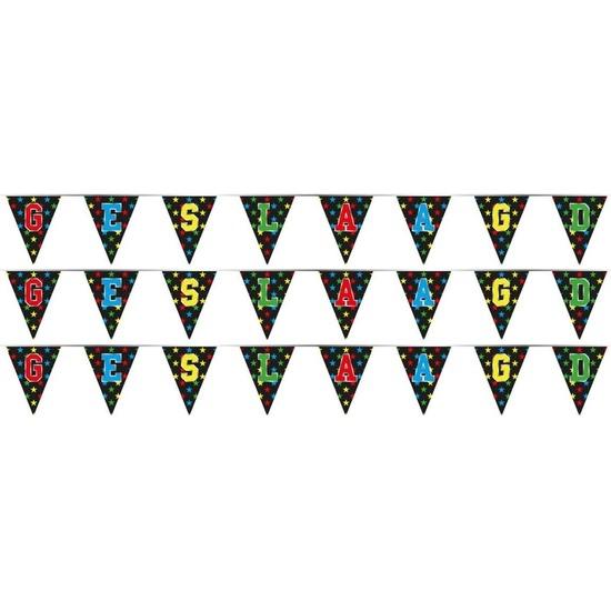 3x Vlaggenlijnen geslaagd thema feestartikelen 4 meter