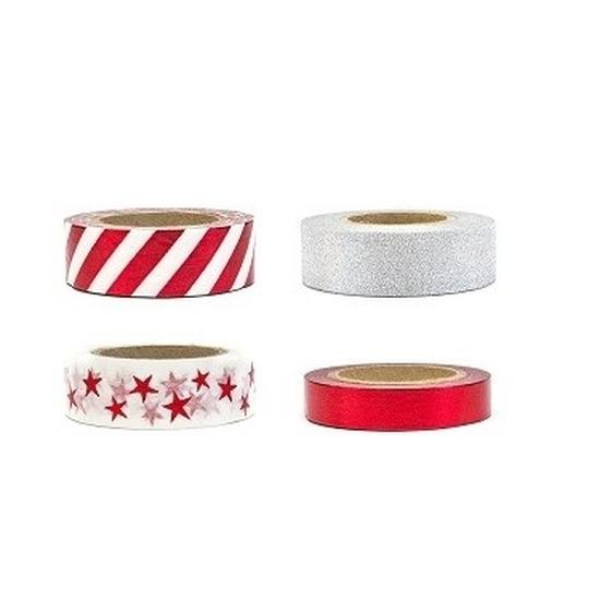 4 decoratie sierlint rollen rood en zilver motief