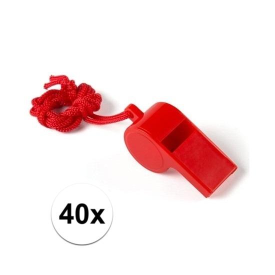 40x Feestartikelen plastic rood fluitje