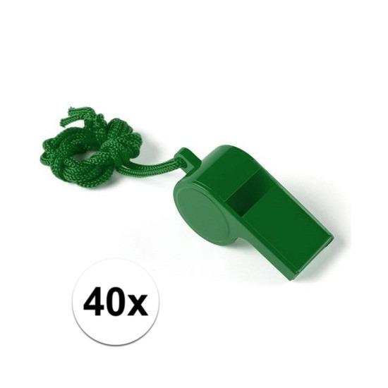 40x Voordelig plastic fluitje aan koord