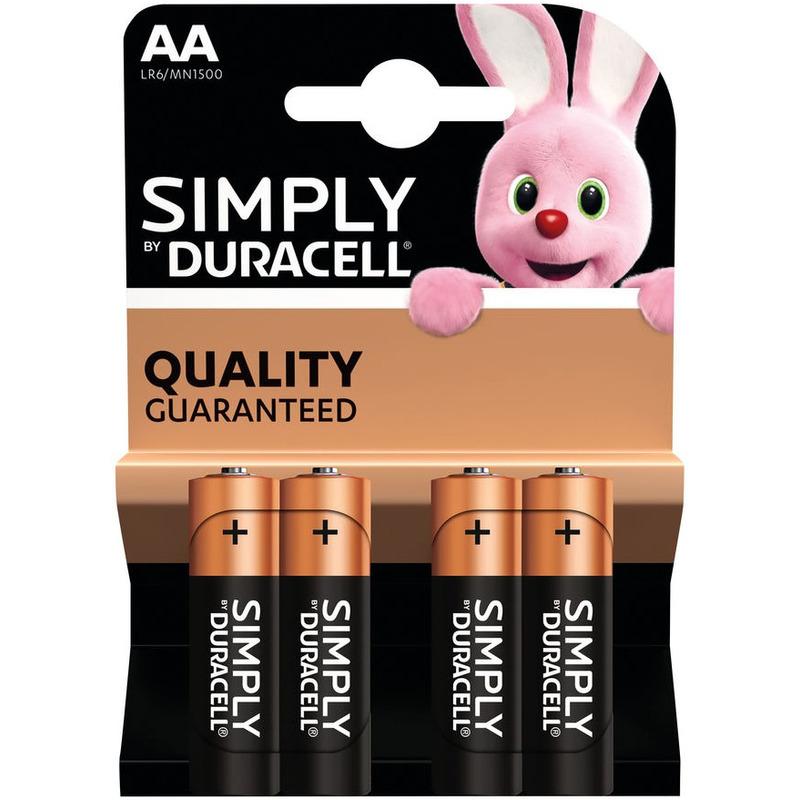4x Duracell AA Simply batterijen alkaline LR6 MN1500 1.5 V