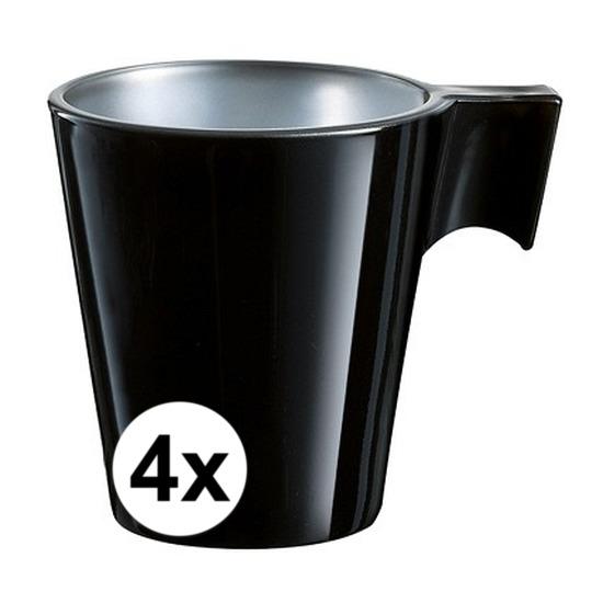 4x Zwarte espresso/koffie kop