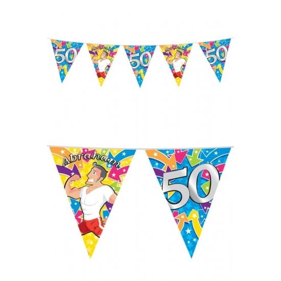 50 jaar feest Abraham buiten vlaggetjes