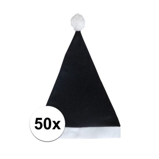 50x Klassieke kerstmuts zwart voor volwassenen