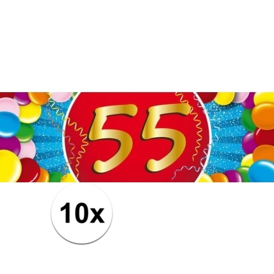55 jaar versiering sticker 10 stuks