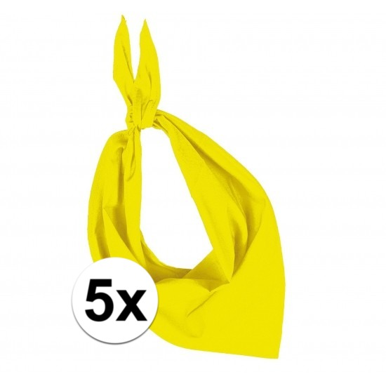 5x Bandana zakdoeken geel