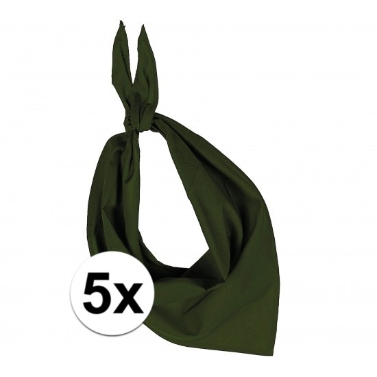 5x Bandana zakdoeken olijf groen